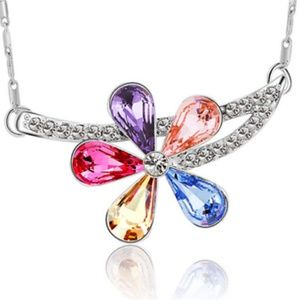 Jewelry - Multicolor Crystal Flower Necklace New